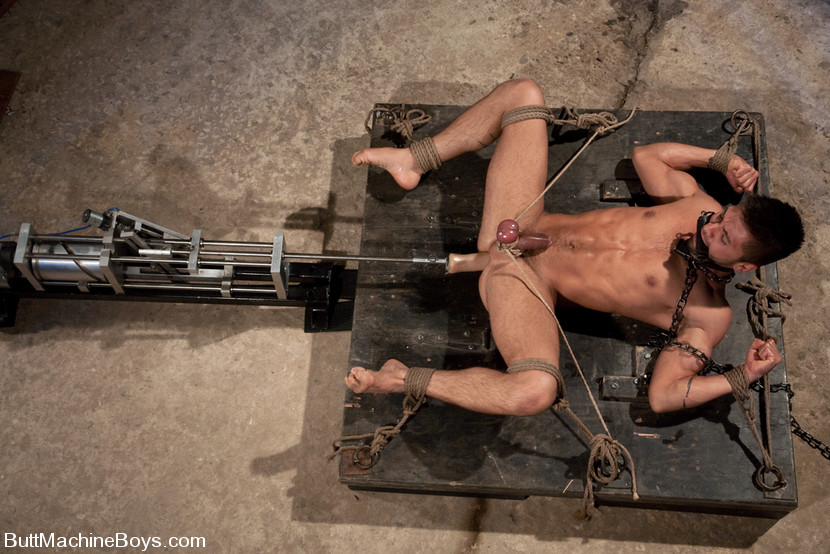 Tied up and fucked by a machine