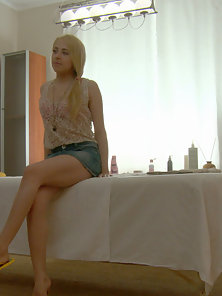Incredible teen blonde with perky tits getting hardcored on massage table