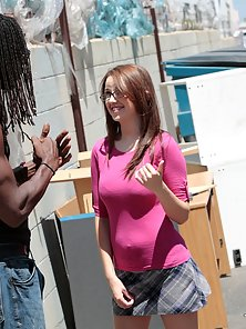 Cute ass nerdy redhead teen gets her tight pussy stretched by a huge cock