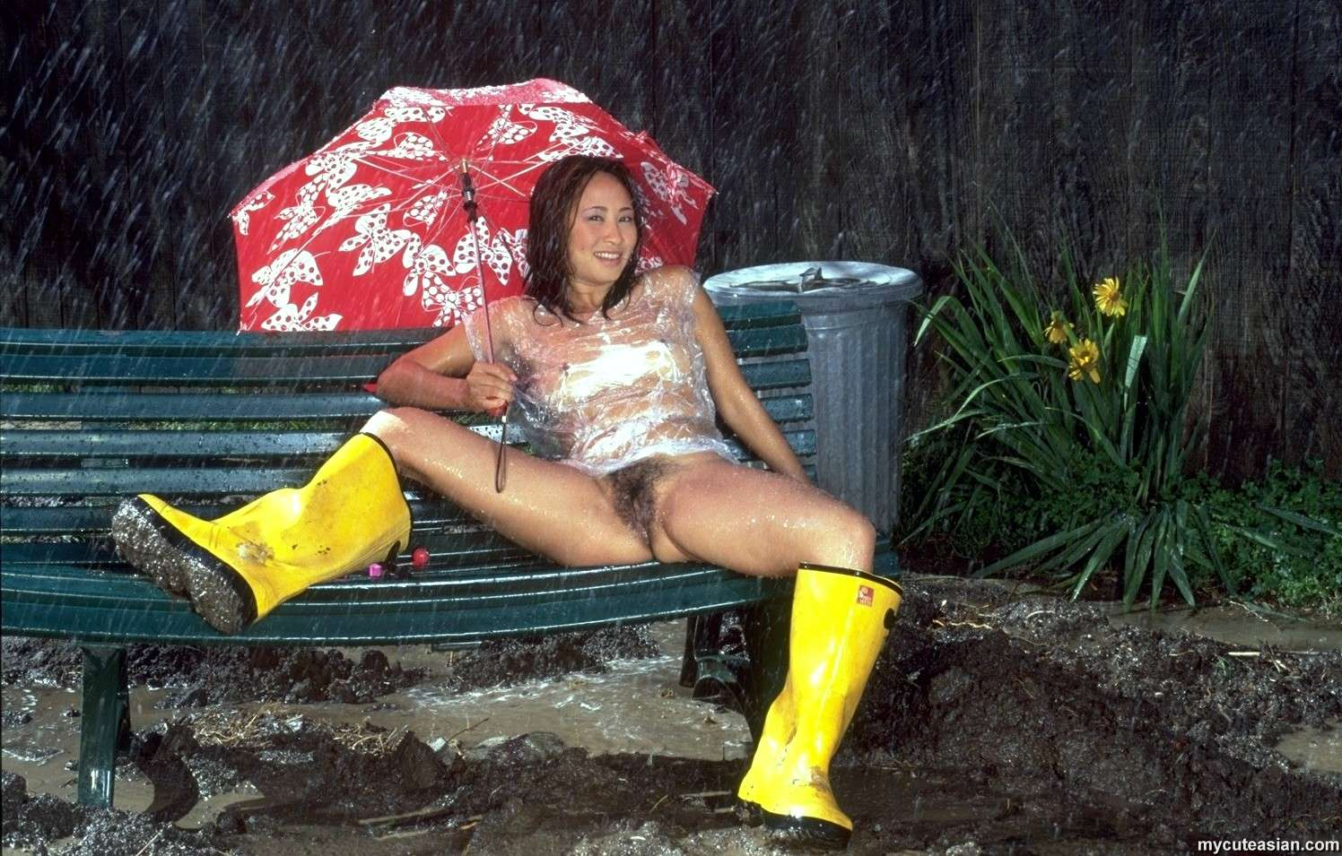 Naked Asian Spreads Her Pussy Under The Rain - Ass Point-8865