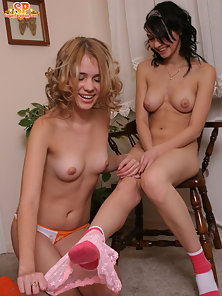 Two of the fascinating teens like to make lecherous dreams of the partner come true so they take off