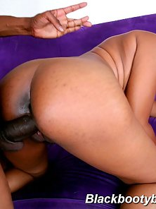 Sexy black babe takes black cock deep into her plump little ass