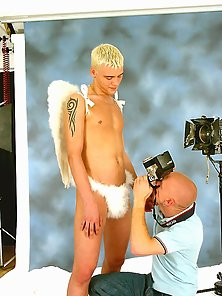 Blonde boy in do sexy pictoril with angel wings
