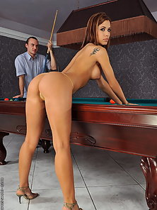 Pretty faced gal in anal fuckin act on a pooltable