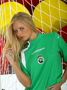 Petite Blonde In Football Jersey