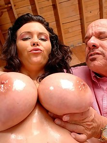 Angelica got her milk sacs oiled and gets fucked hard