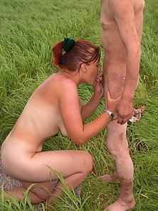 Dirty bum is given head in the green fields
