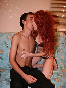 Red-haired teen girl enjoys sucking and riding massive dick