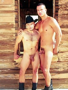 Two sexy cowboys posing naked together