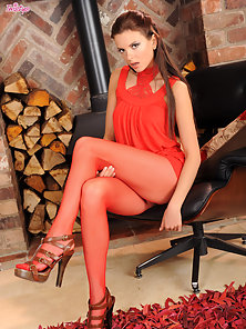 Monicca gets down and dirty in skimpy red outfit