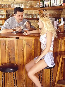 Naughty blonde babe gets anally fucked by the bartender