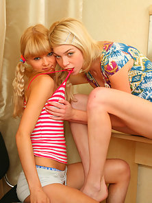 Juicy porn photos of a lovely blond lesbians getting their tight pussies wrecked with a toy in the b