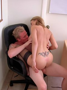 Cute blonde girl gives up her young tender pussy