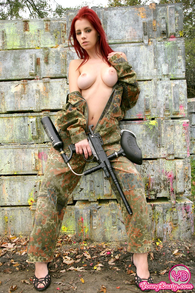 Big Breasted Paintballing Redhead Goes Fully Naked Outdoor -3757