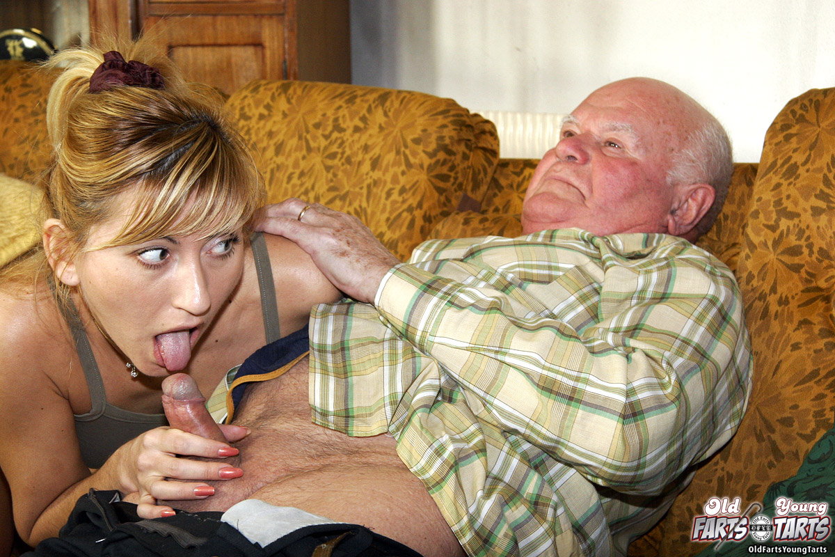 grandpa and young girls blow