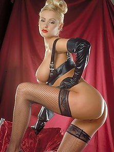 Zdenka Podkapova in leather and stockings