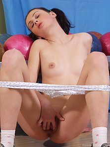 Pigtailed Teen At Bowling Alley