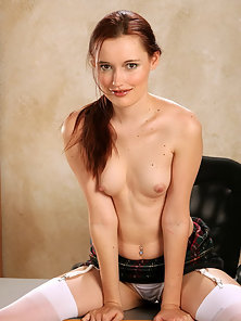 Horny secretary in white stockings