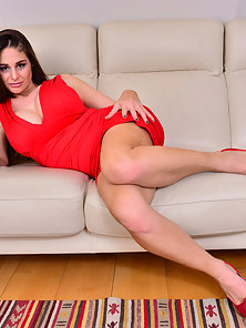 Red Dressed Beauty Having Massive Boobs Fucked Herself By a Glass Dildo