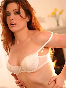 Aimee Sweet strips off her lacey bra and panties