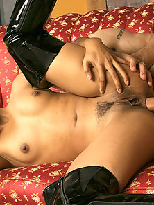 Hairy asian girl gets a dick in her ass and vagina