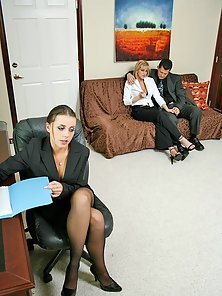 Busty office chicks Penny Flame and Eve Lawrence gets nailed by boss
