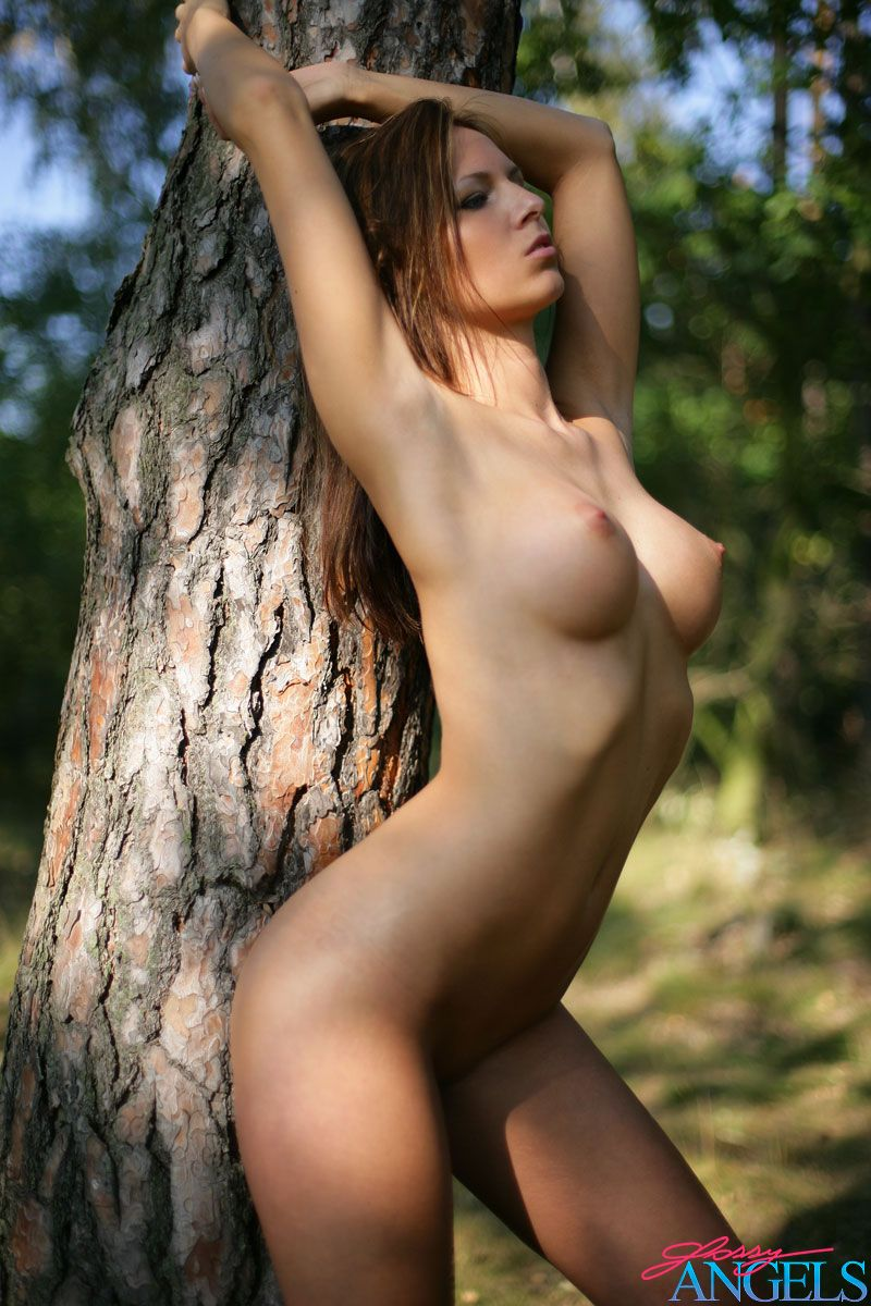 Brunette Sexy Babe Showing Her Nice Perky Tits In A Forest -7947