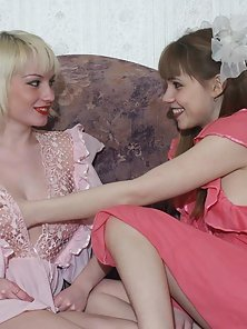 Sexy teen strips her friend and herself and then licks her lovers hot lesbian pussy
