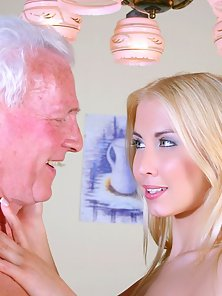 Stunning blonde beauty gets pounded by a horny senior stud