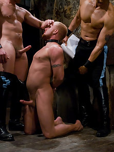 Luke Riley gets douched and receives a hard fuck in bondage.