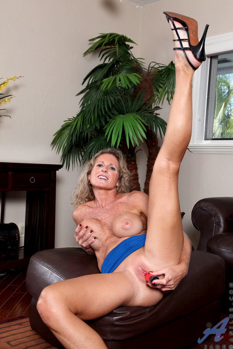 Hot Blonde Milf Rides Dildo