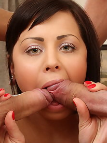 Petite brunette in a hot DP and a facial action