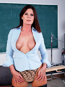 naughty brunette teacher takes it from her student