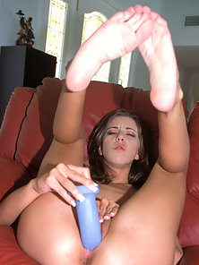 Kelly Kline is a long haired brunette using all kinds of toys on her tight pussy