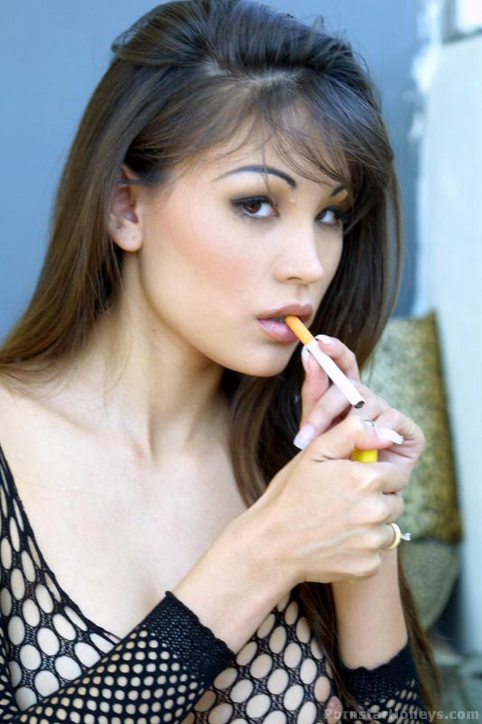 Jade Hsu smoking a cig while showing her asian pussy while ...