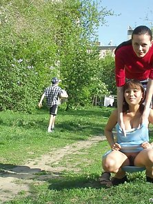 Two hot adventurous amateur naked in the park