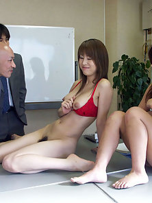 Two Japanese girls getting fucked by their horny bosses