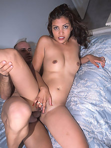 Sweaty asian girl enjoys white mans penis in her twat