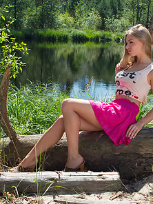 Stunning Blonde Girl Fingering and Squeezing at Outdoor