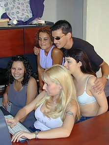 Four girls attack one lucky guy on cam