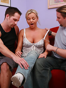 Blonde Chick Riding In Doggy Style and Deepthroat Her Partners