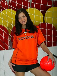 Hot Orange Sexy Soccer Babe