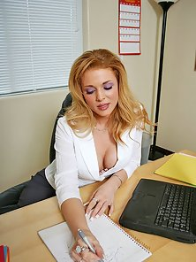 Busty secretary getting doggy fucked at work