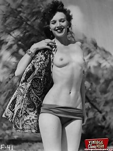 Several vintage ladies showing their good bodies outdoor