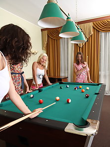 Awesome photosession with four perfect teen lesbians getting sex pleasure during 8ball pool game.