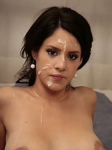 Brunette Lady After Sucking and Pounding Gets Cumshot From Huge Dick