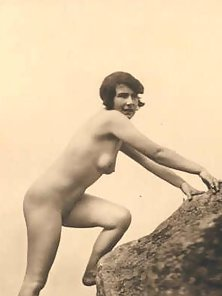 Naughty vintage ladies posing nude outside in the garden