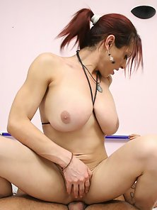 A sexy shemale hooker sucking off her clients hard pecker