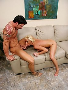 Julian drops his hot load all over blondes sexy feet after a stiff banging