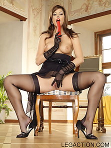 Lucky All Dressed Up In Black Stockings